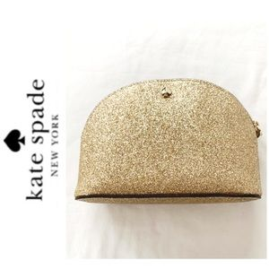 NWT Kate Spade glitter cosmetics bag pale gold